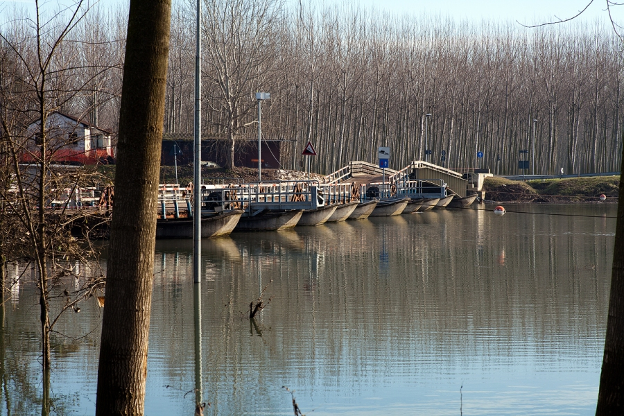 Il ponte di barche a Torre d'Oglio (MN)