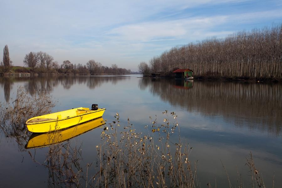 Il fiume Oglio in piena